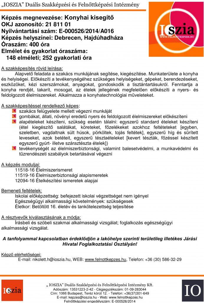Konyhai kisegítő OKJ - Debrecen - Hajdúhadház - Felnőttképzés - felnottkepzes.hu - IOSZIA