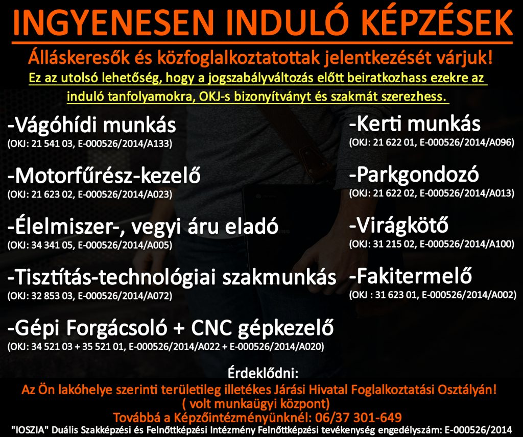 Nógrád megye - Ingyenes képzések - Felnőttképzés - felnottkepzes.hu - IOSZIA