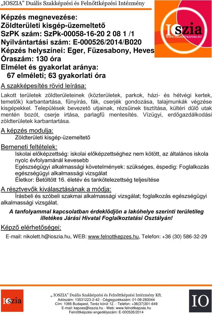 Zöldterületi kisgép-üzemeltető - Eger - Füzesabony - Heves - felnottkepzes.hu - Felnőttképzés - IOSZIA